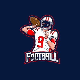 Logo esport z postacią gracza futbolu amerykańskiego