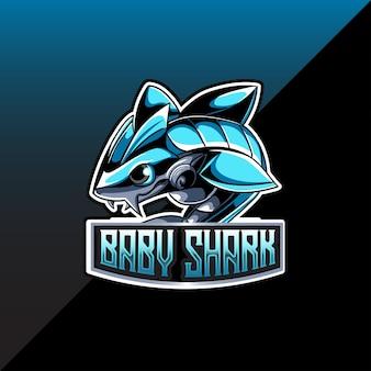Logo esport z postacią rekina dla dzieci