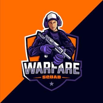 Logo esportu gry warfare squad