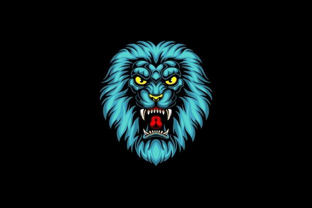 Logo esportu niebieskiego głowy lwa