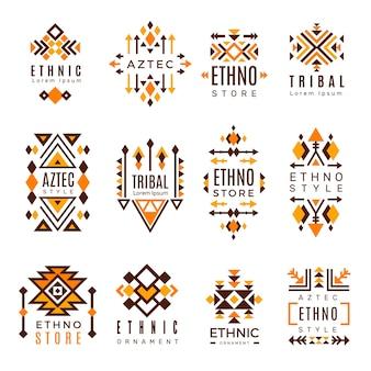 Logo etniczne. modne symbole plemienne kształty geometryczne indyjskie dekoracyjne elementy meksykańskie