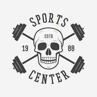 Logo, etykieta i lub odznaka siłowni w stylu vintage. ilustracja wektorowa