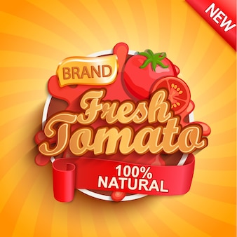 Logo, etykieta lub naklejka ze świeżych pomidorów.