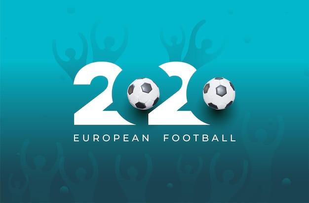 Logo europejskiego pucharu piłki nożnej 2020. realistyczny projekt graficzny piłki i pucharu zwycięstwa