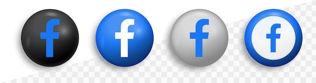 Logo facebooka w okrągłym nowoczesnym kręgu - ikony sieci społecznościowych - platformy medialne