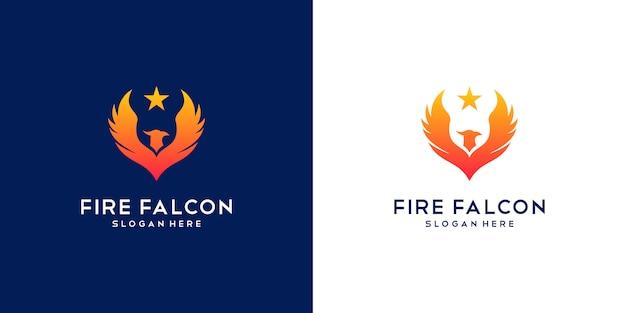 Logo falcon fire. minimalna płaska firma phoenix, eagle i hawk.