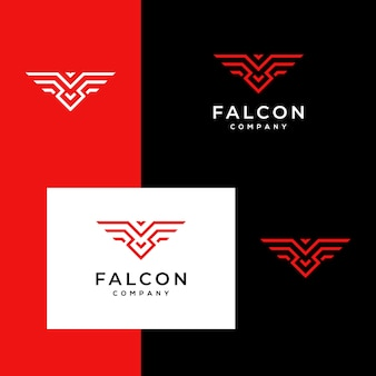 Logo falcon, hawk, eagle strong monogram