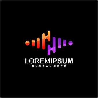 Logo fali dźwiękowej z negatywną przestrzenią