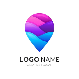 Logo fali punktowej, pin i fala, logo kombinacji z kolorowym stylem 3d