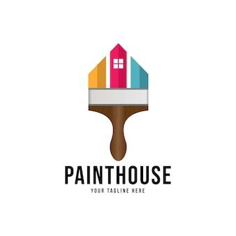 Logo farby do domu, tożsamość firmy zajmującej się dekoracją wnętrz