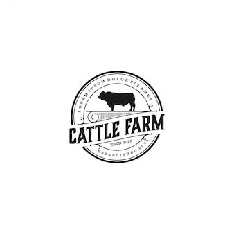 Logo farmy bydła, farma krów angus