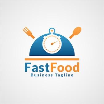 Logo fast food dla restauracji szybkiej obsługi lub logo restauracji szybkiej obsługi