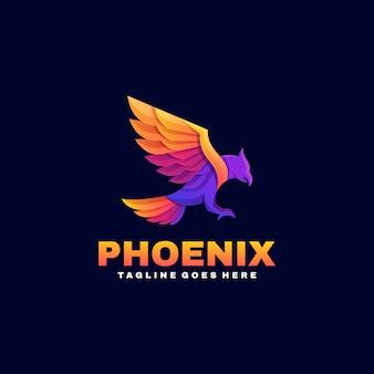 Logo feniks gradient kolorowy styl.