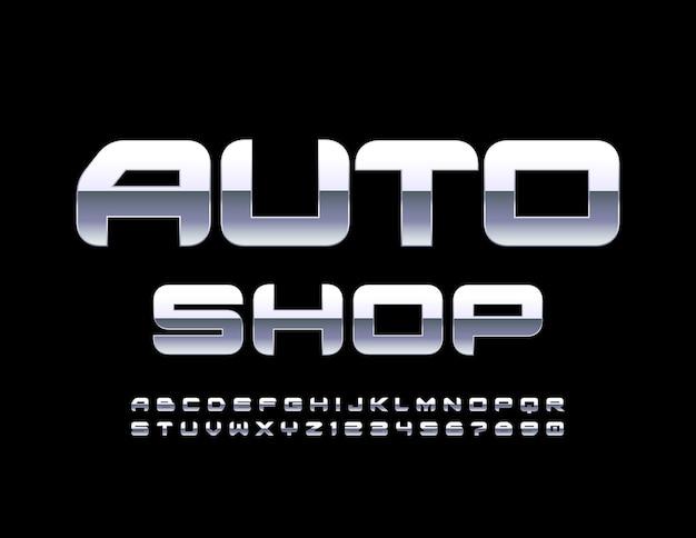 Logo firmy auto shop stalowa odblaskowa czcionka styl techno zestaw liter alfabetu i cyfr