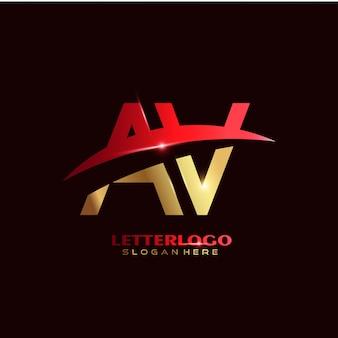 Logo firmy av z literą początkową ze swoosh dla logo firmy i biznesu.
