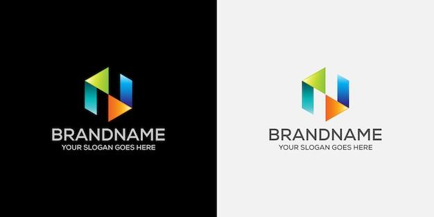 Logo firmy cyfrowej litery n.