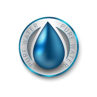 Logo firmy czystej wody. symbol niebieskiej kropli. znak, ikona, piktogram.