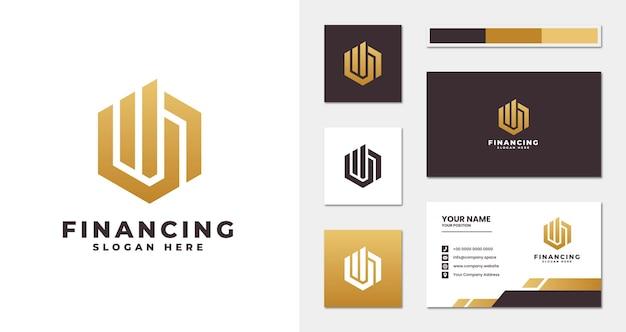 Logo firmy finansowej ze stylem monogramu i szablonem wizytówki
