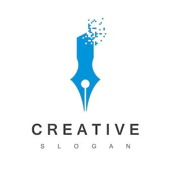 Logo firmy kreatywnej z symbolem pióra pikselowego