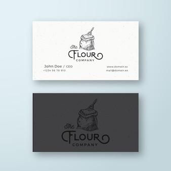 Logo firmy mąki abstrakcyjne wektor i szablon wizytówki worek lub worek na mąkę z szufelką szkic dr...