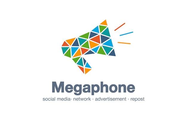 Logo firmy streszczenie biznes. element tożsamości korporacyjnej. rynek cyfrowy, komunikat sieciowy, pomysł na logotyp megafonu. repost, ogłoszenie, koncepcja połączenia mediów społecznościowych. ikona interakcji