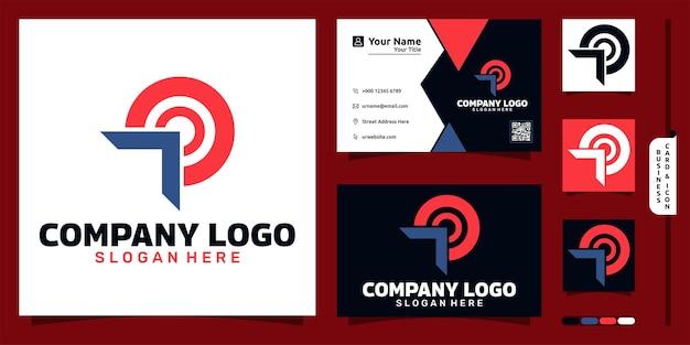 Logo firmy ze strzałką strzałką nowoczesną koncepcję i projekt wizytówki