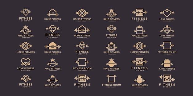 Logo fitness i zestaw ikon