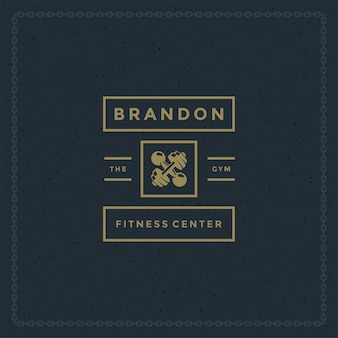 Logo fitness lub odznaka ilustracja dwa skrzyżowane hantle sylwetka symbolu sportowego sprzętu