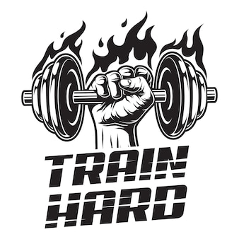 Logo fitness vintage z silnym mężczyzną ręki trzymającej ognisty hantle