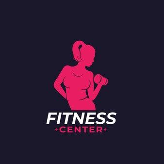 Logo fitness z wysportowaną dziewczyną