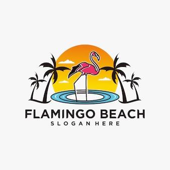 Logo flaminga na plaży słodkie, lato z wakacjami postacie z flamingami i plaża. ilustracja wektorowa