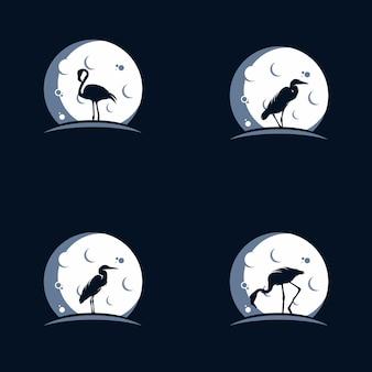 Logo flamingo i czapla na księżycu