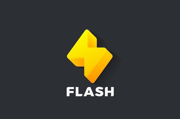 Logo flash power energy. styl thunder bolt 3d. logotyp thunderbolt battery lightning
