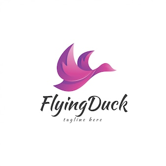 Logo flying bird flying duck