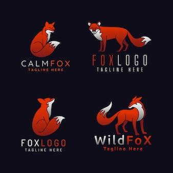 Logo fox z 4 stylami na czarnym tle