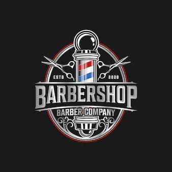 Logo fryzjera eleganckie detale w stylu vintage z profesjonalnymi nożyczkami i żyletkami