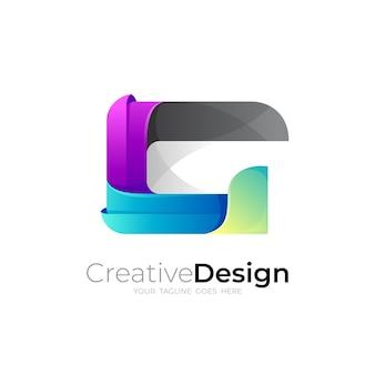 Logo g, logo litery g z kwadratowym, kolorowym stylem