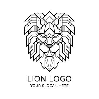 Logo geometryczny lew streszczenie twarz