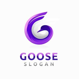 Logo gęsi z koncepcją litery g