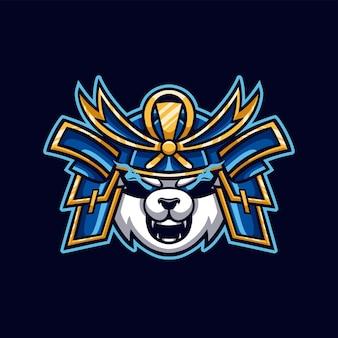 Logo gier e-sportowych panda samurai