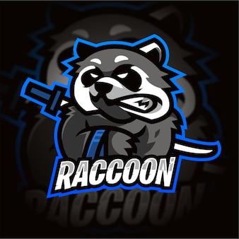 Logo Gier E-sportowych Raccoon Premium Wektorów