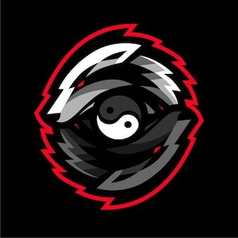 Logo gier e-sportowych wilków yin yang