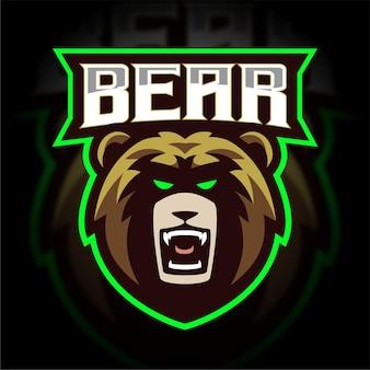 Logo gier e-sportowych z głową niedźwiedzia