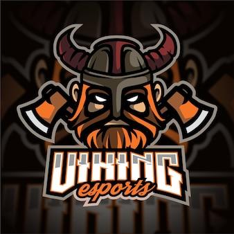 Logo gier e-sportowych z głową wikinga