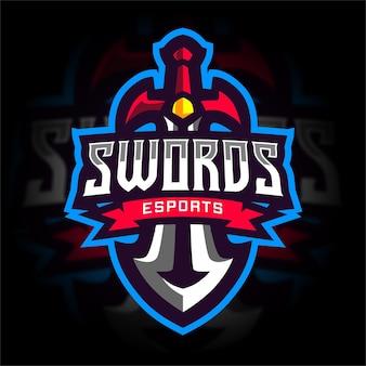 Logo gier e-sportowych z mieczem rycerskim
