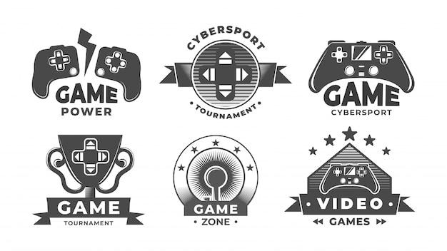 Logo gier. etykiety związane ze sportem cybernetycznym.