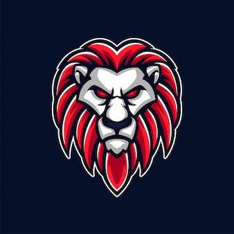 Logo gier hazardowych z maskotką, głową lwa i królem zwierząt