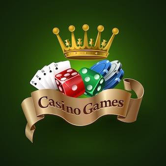 Logo gier kasynowych. najlepsze gry kasynowe. kości, karty, żetony