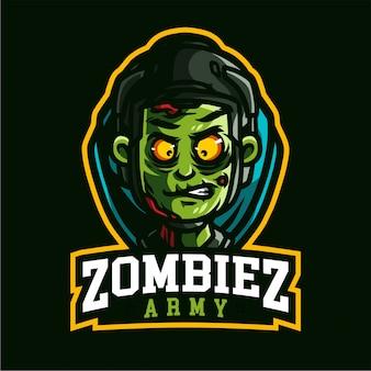 Logo gier z maskotką armii zombiez