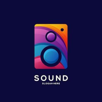 Logo głośnika kolorowa ilustracja gradientowa